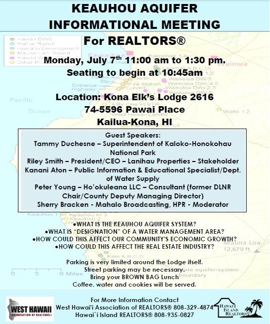 Keauhou Aquifer Info Meeting 7-7-2014