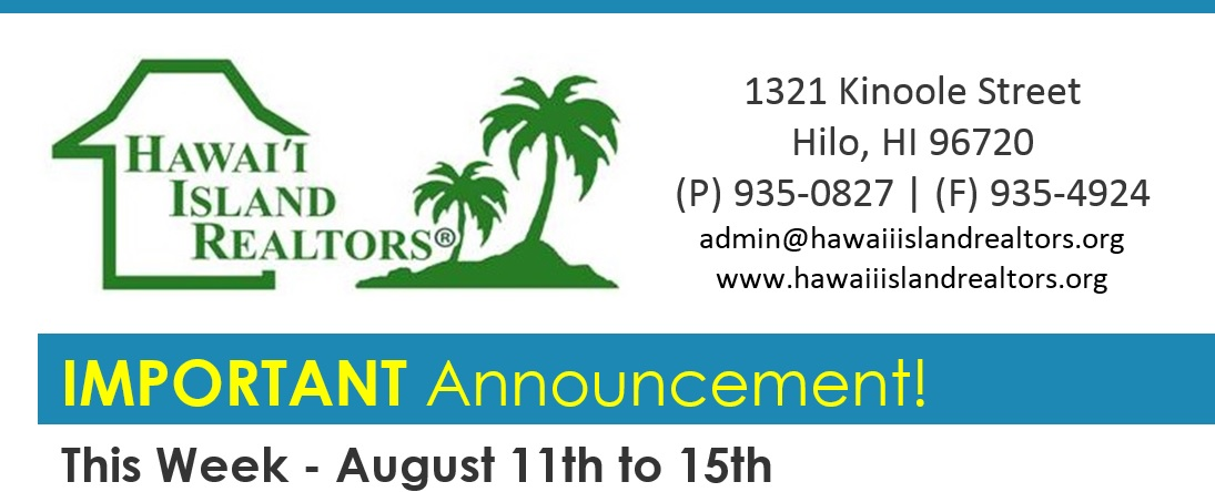HIR Important Announcement for Aug 11-15-2014