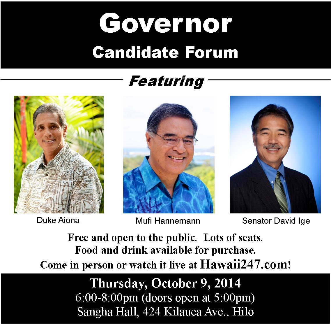 Gov candidate forum FB 2014